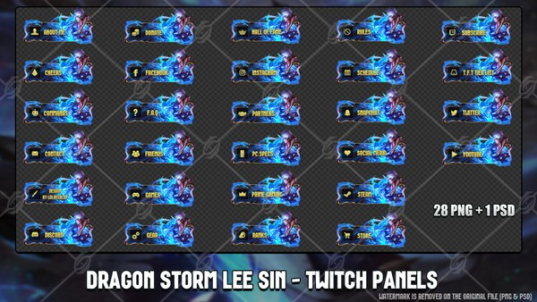 🐉 STORM DRAGON LEE SIN - TWITCH PANELS