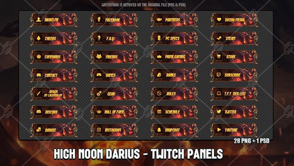 ✅HIGH NOON DARIUS - TWITCH PANELS