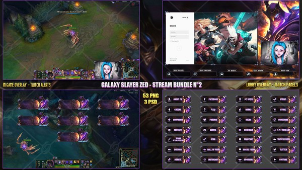 🔥 GALAXY SLAYER ZED - STREAM BUNDLE N°2 [53 PNG + 3 PSD]