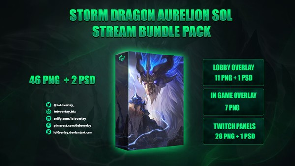 🔥🐉 STORM DRAGON AURELION SOL - STREAM BUNDLE [46 PNG + 2 PSD]