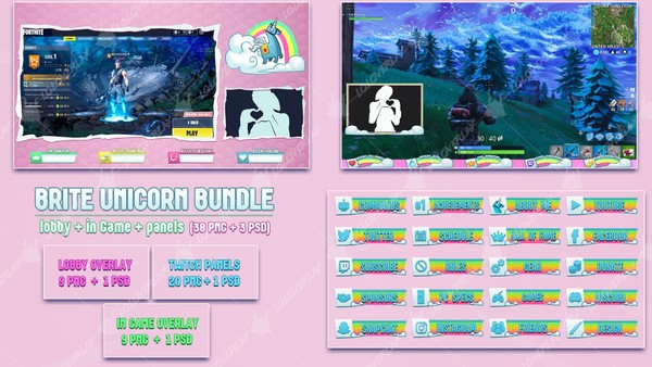 ✅ BRITE UNICORN - BUNDLE 38 PNG + 3 PSD