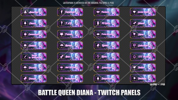 ⚔️BATTLE QUEEN DIANA - TWITCH PANELS