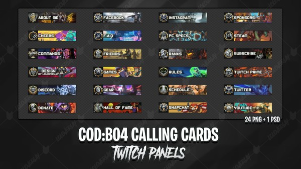 ✅ COD : BO4 CALLING CARDS - TWITCH PANELS