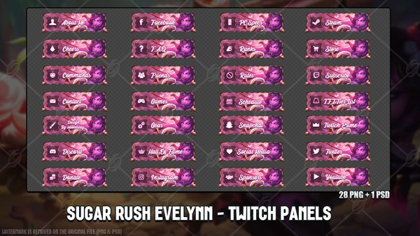 ✅ SUGAR RUSH EVELYNN - TWITCH PANELS