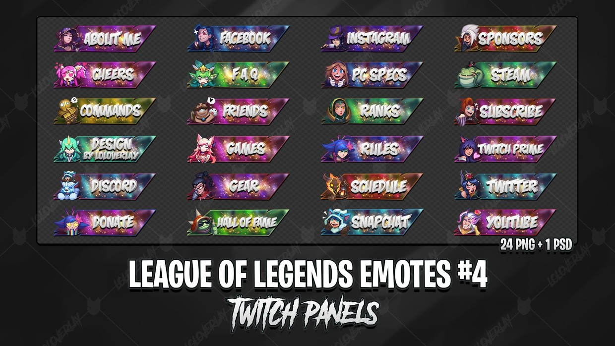 ✅🔥 LEAGUE OF LEGENDS EMOTES - TWITCH PANELS #4
