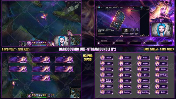 🔥 DARK COSMIC LUX - STREAM BUNDLE N°2 [53 PNG + 3 PSD
