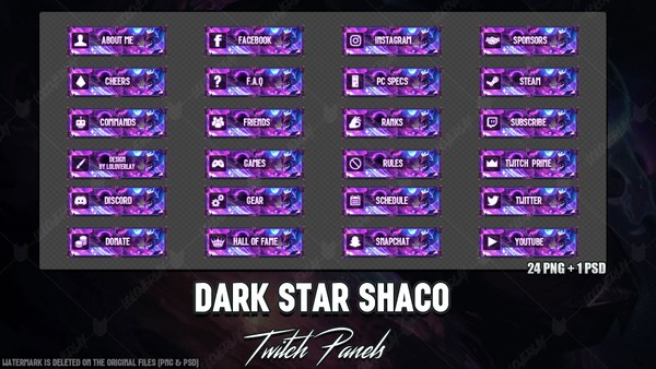 ✅ DARK STAR SHACO - TWITCH PANELS