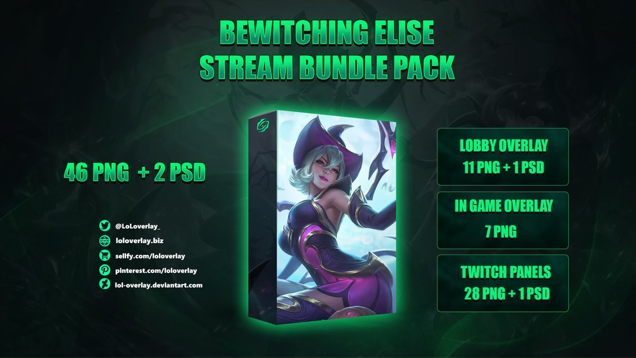 🔥🕷BEWITCHING ELISE - STREAM BUNDLE [46 PNG + 2 PSD]