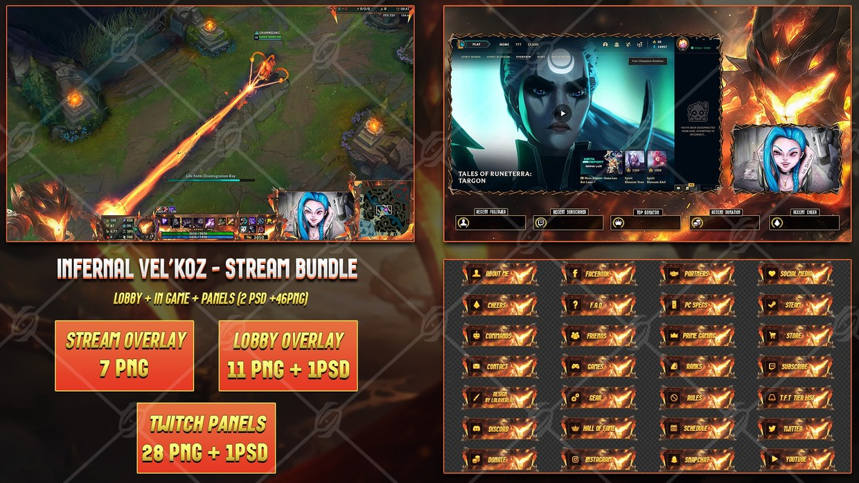 🔥INFERNAL VEL'KOZ - STREAM BUNDLE [46 PNG + 2 PSD]