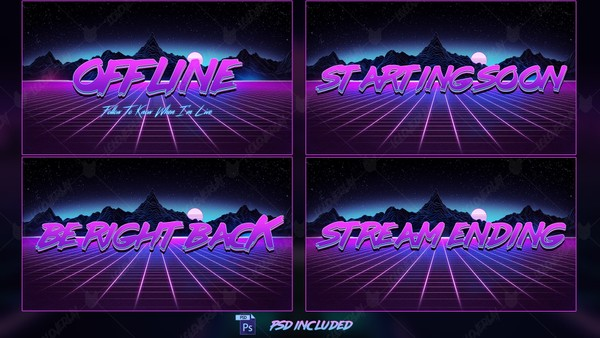 ✅ RETRO WAVE - INTERMISSIONS SCREENS