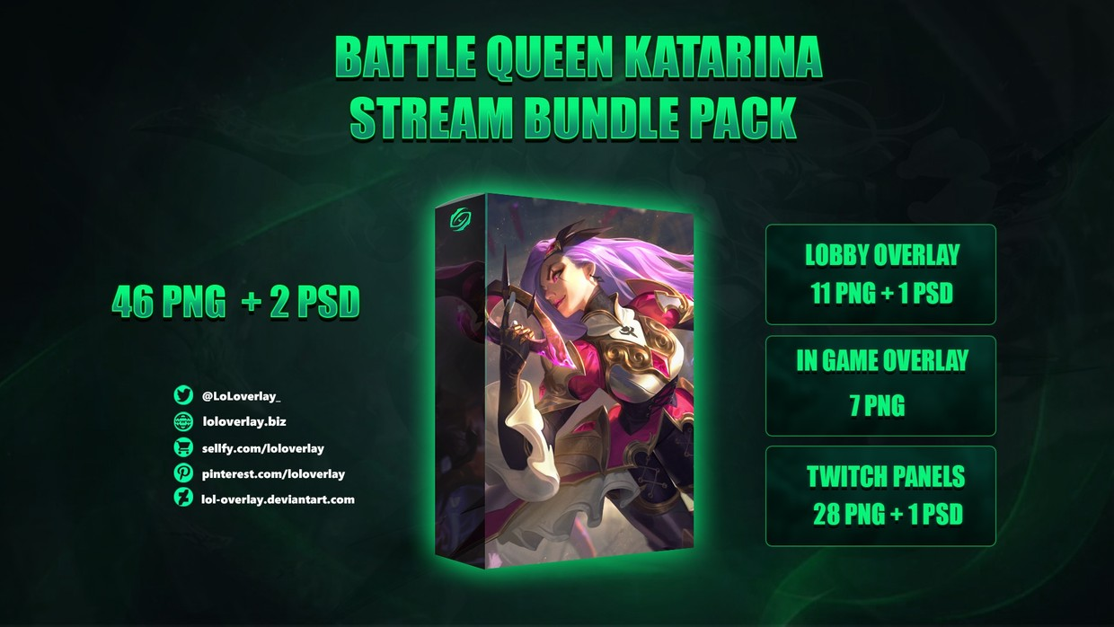 ⚔️BATTLE QUEEN KATARINA - STREAM BUNDLE [46 PNG + 2 PSD]