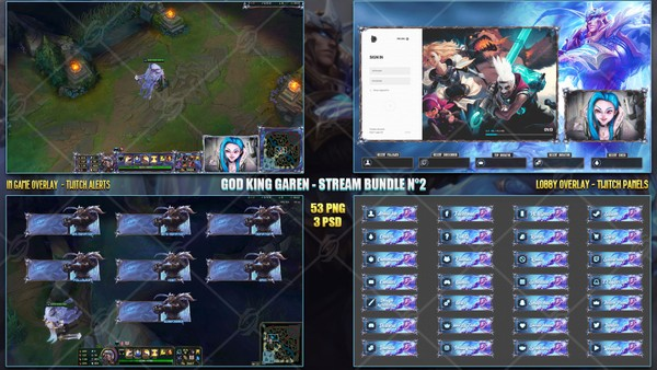 🔥 GOD KING GAREN - STREAM BUNDLE N°2 [53 PNG + 3 PSD]