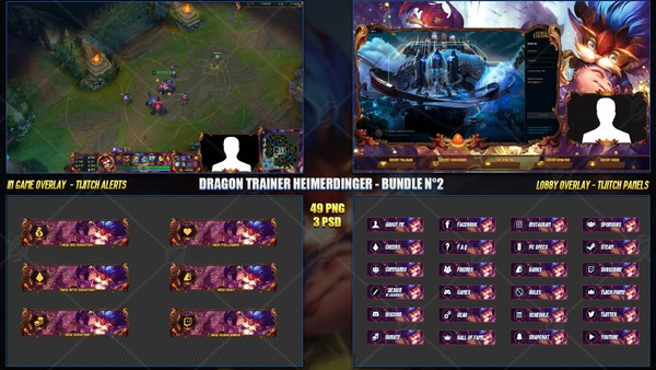 🔥 DRAGON TRAINER HEIMERDINGER  - STREAM BUNDLE #2 [49 PNG + 3 PSD]