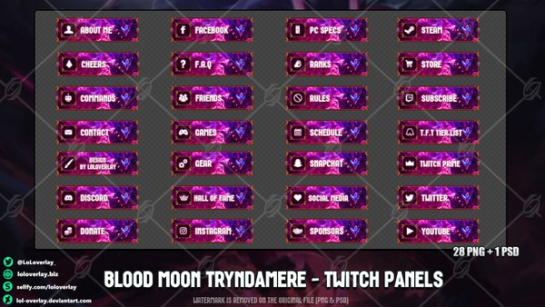 ✅ BLOOD MOON TRYNDAMERE - TWITCH PANELS