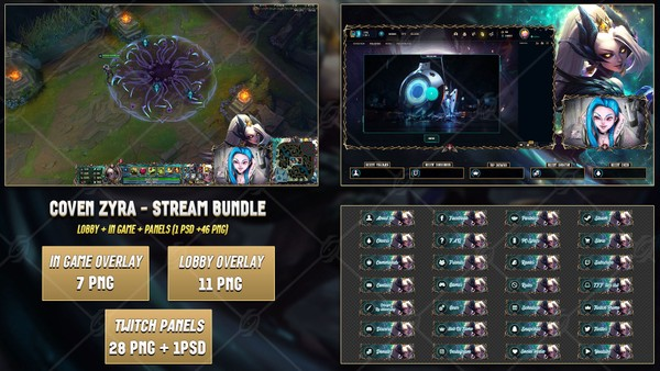 🔥COVEN ZYRA - STREAM BUNDLE [46 PNG + 2 PSD]