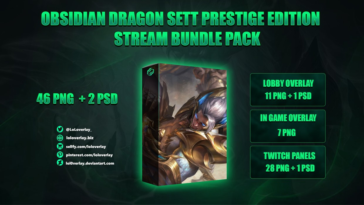 🔥🐉OBSIDIAN DRAGON SETT PRESTIGE EDITION - STREAM BUNDLE [46 PNG + 2 PSD]