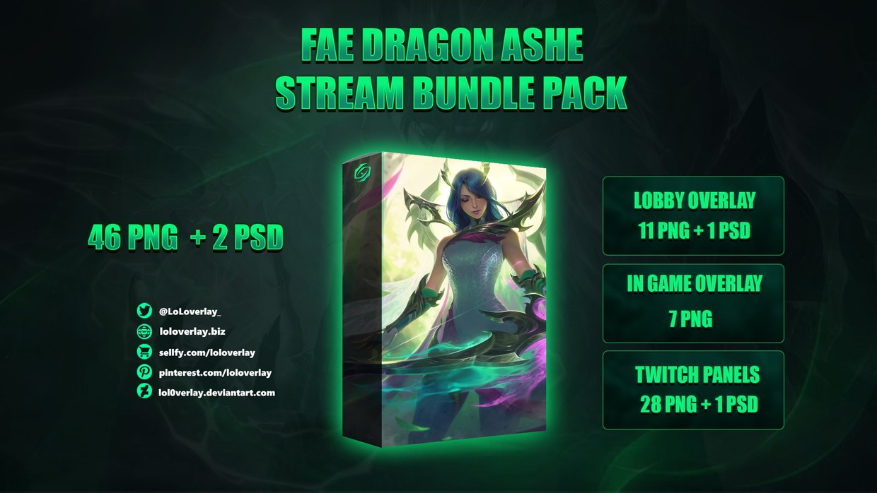 🔥🐉FAE DRAGON ASHE - STREAM BUNDLE [46 PNG + 2 PSD]