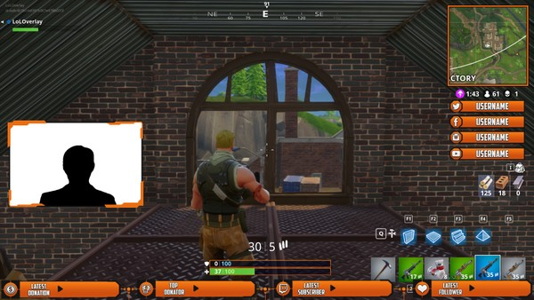 FORTNITE (ORANGE X BLACK) - STREAM OVERLAY #2