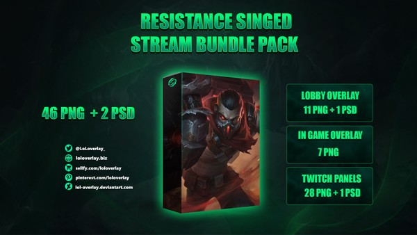 🔥RESISTANCE SINGED - STREAM BUNDLE [46 PNG + 2 PSD]