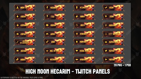 ✅🎃HIGH NOON HECARIM  - TWITCH PANELS