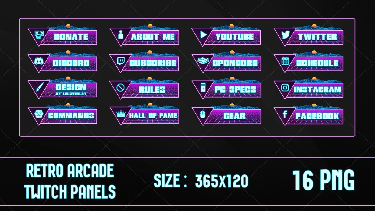 ✅ RETRO ARCADE - TWITCH PANELS