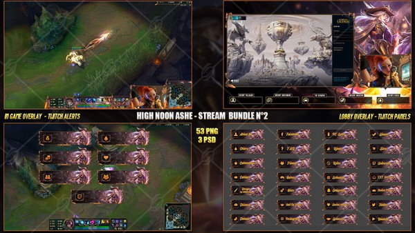 🔥 HIGH NOON ASHE - STREAM BUNDLE #2 [53 PNG + 3 PSD]
