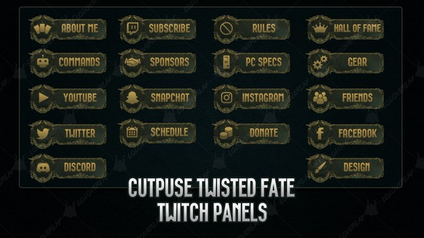 ✅ CUTPURSE TWISTED FATE - TWITCH PANELS