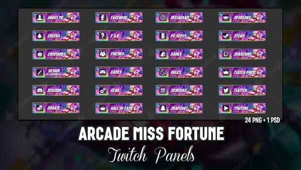 ✅ ARCADE MISS FORTUNE - TWITCH PANELS