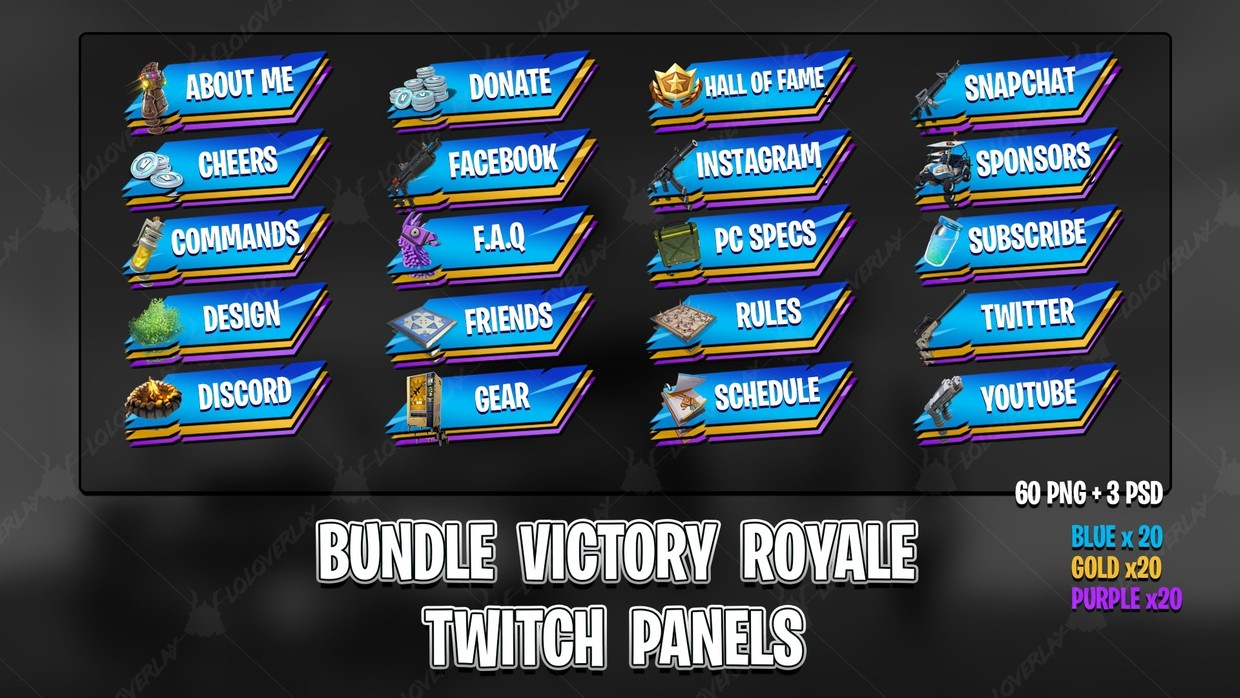 ✅[BUNDLE] VICTORY ROYALE 2018 - TWITCH PANELS