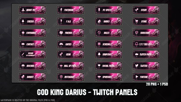 ✅GOD KING DARIUS - TWITCH PANELS