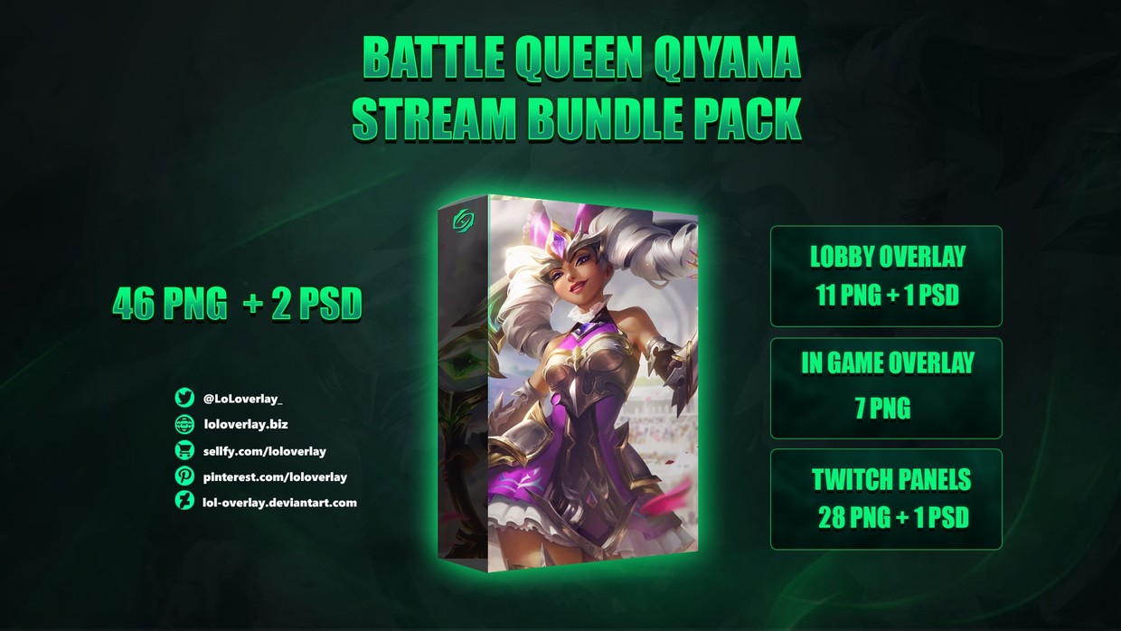 ⚔️BATTLE QUEEN QIYANA - STREAM BUNDLE [46 PNG + 2 PSD]