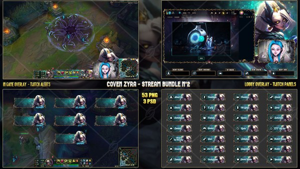 🖤COVEN ZYRA - STREAM BUNDLE N°2 [53 PNG + 3 PSD]
