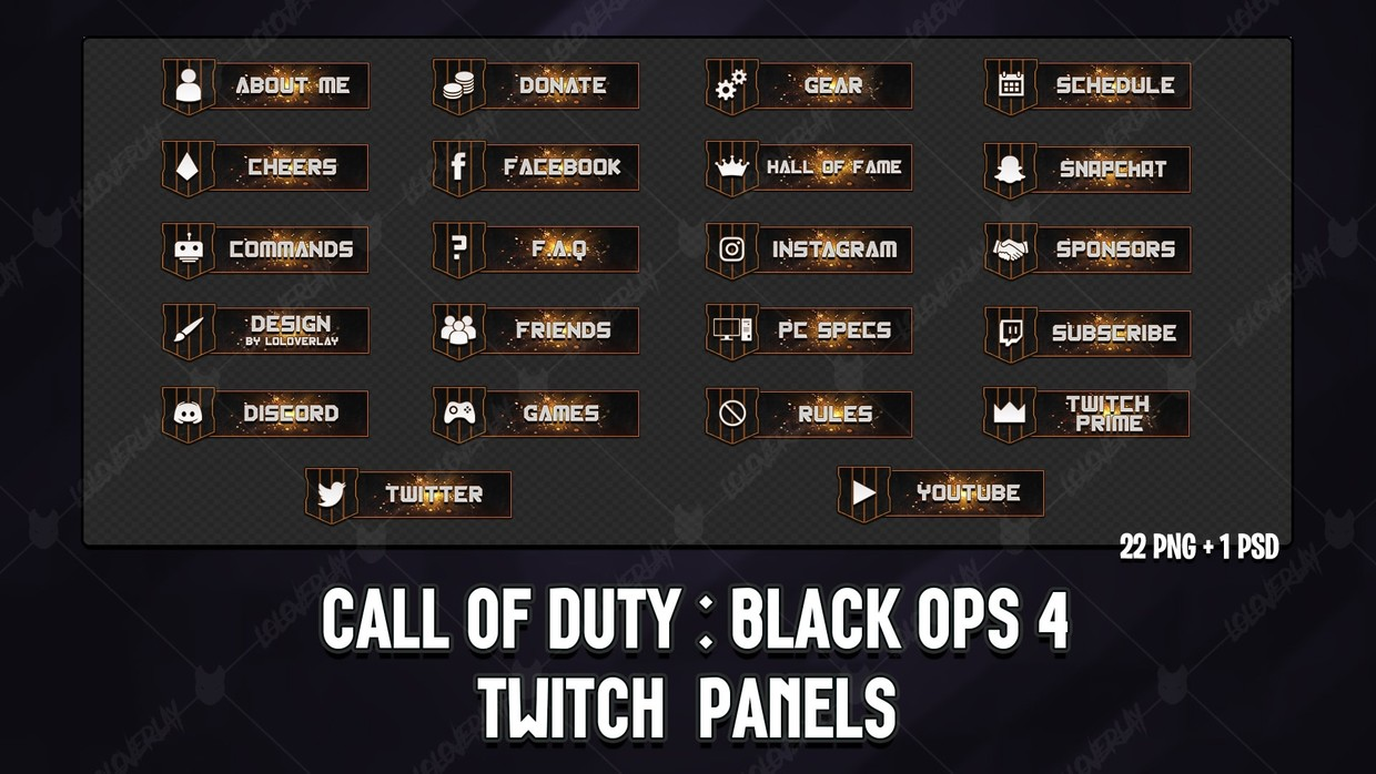 ✅ CALL OF DUTY : BLACK OPS 4 - TWITCH PANELS