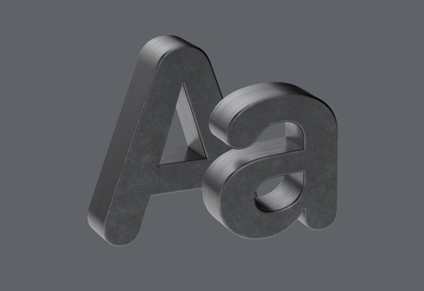 Gunmetal Letters and Numbers