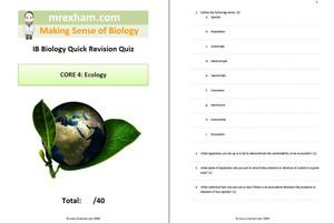IB Biology Revision Quiz Core 4 - Ecology