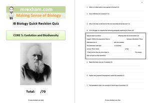 IB Biology Revision Quiz - Core 5: Evolution and Biodiversity