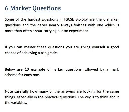 IGCSE Biology - 6 Marker Question Revision