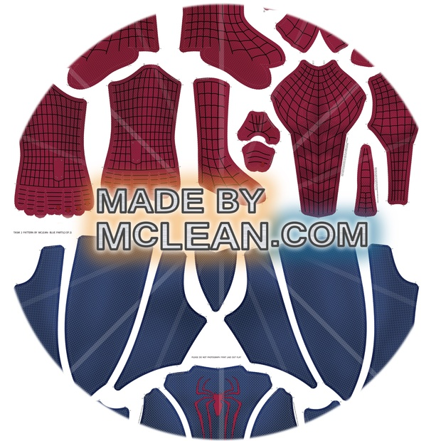 MadebyMcLean Amazing Spider-Man 2 Dye-Sublimation Ready Print with Separated Blue and Red Sections