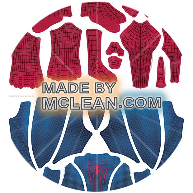 MadebyMcLean Bright Colors Amazing Spider-Man 2 Dye-Sub Ready Print w/ Separated Blue/Red Sections