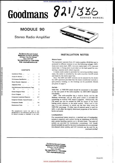 Goodmans Module 90 Service Manual