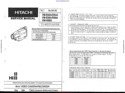 hitachi vm e56a service manual mauritron technical services rh sellfy com hitachi vm-600e manual hitachi vm-600e manual
