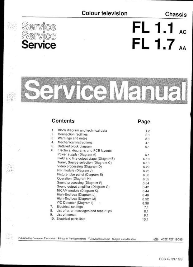 Philips 28ML8770 FL1.1 Service Manual