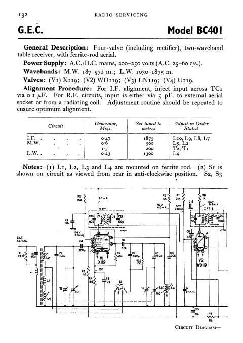 GEC BC401 Service Sheets