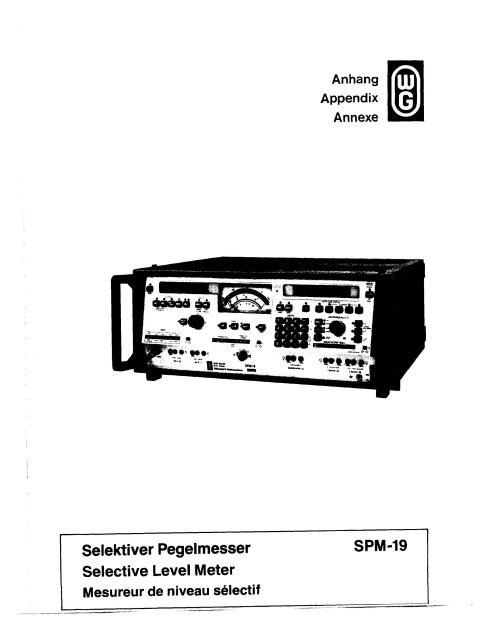Wandel & Goltermann SPM19 Manuals
