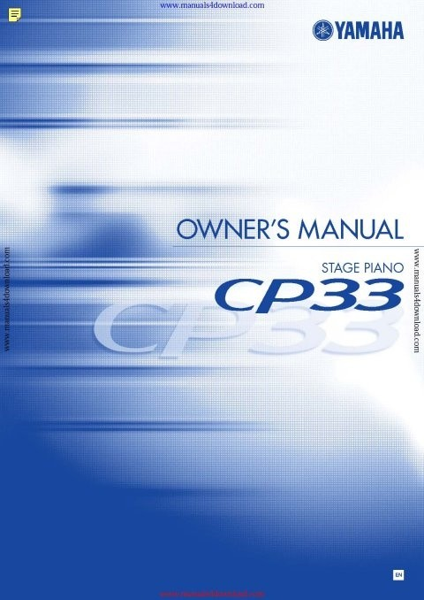 Yamaha CP33 Operating Guide