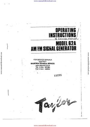 Taylor 62A Instruction Manual