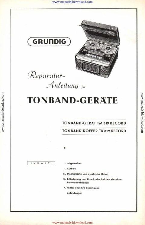 Grundig TK819 Service Manual in German