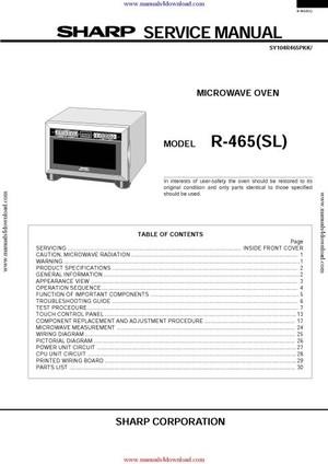 Sharp R465 Service Manual