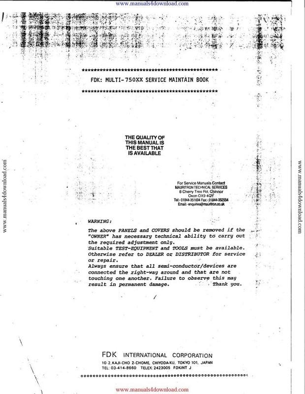 Fdk Multi 750xx Service Manual