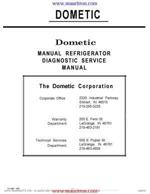 Dometic RM1301 Service Manual